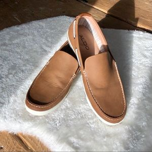 ALDO Brown Leather Slip On Boat Shoes